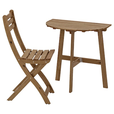 ASKHOLMEN Stolik ścienny+1 skł krzesł, zew, bejca jasnobrązowa