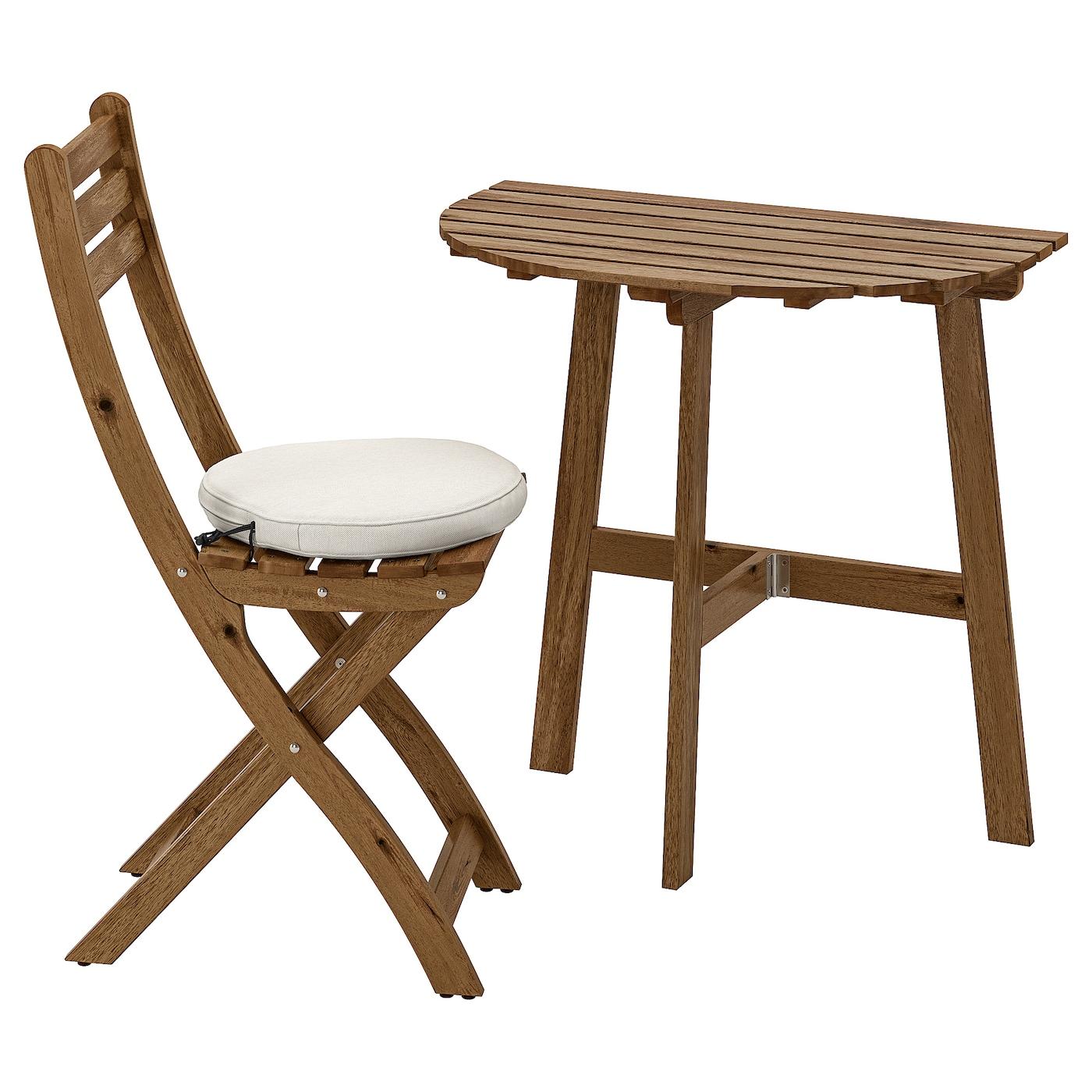 IKEA ASKHOLMEN Stolik ścienny+1 skł krzesł, zew, szarobrązowa bejca, Frösön/Duvholmen beżowy
