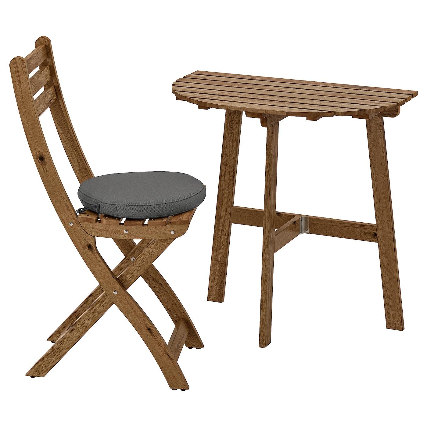IKEA ASKHOLMEN Stolik ścienny+1 skł krzesł, zew, szarobrązowa bejca, Frösön/Duvholmen ciemnoszary