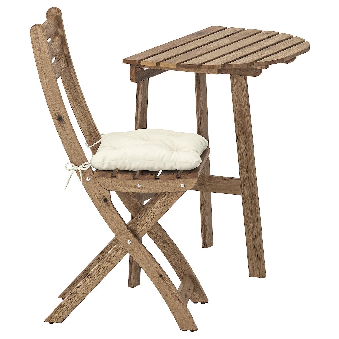 IKEA ASKHOLMEN Stolik ścienny+1 skł krzesł, zew, szarobrązowa bejca, Kuddarna beżowy