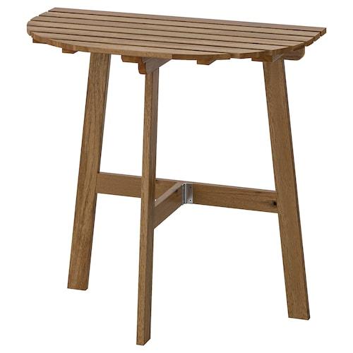 ASKHOLMEN stół ścienny, na zewnątrz składany bejca jasnobrązowa 70 cm 44 cm 71 cm