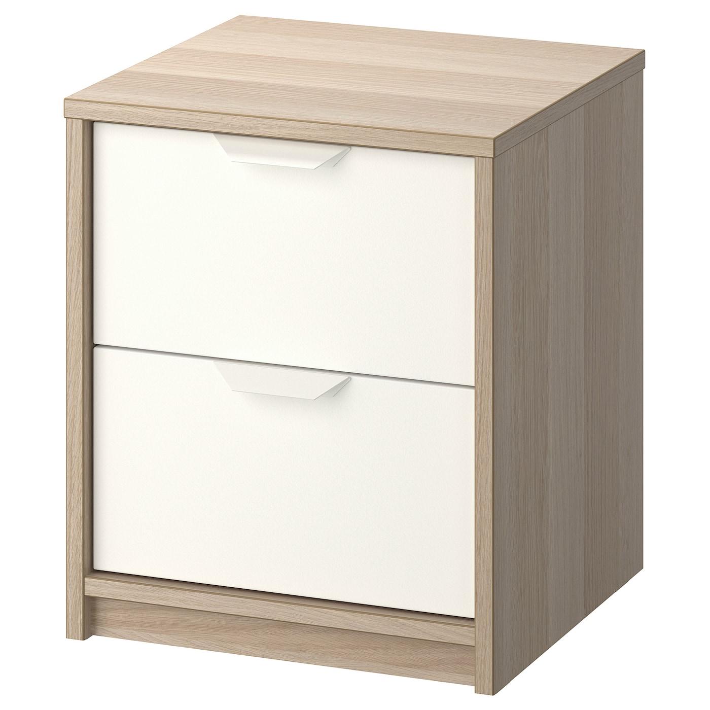 IKEA ASKVOLL komoda o fakturze dębu pokrytego białą bejca z dwiema białymi szufladami, 41x48 cm