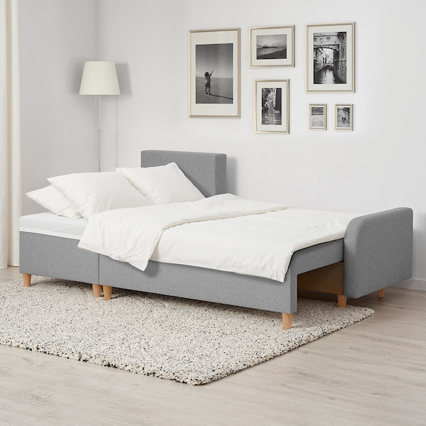 BASTUBO Rozkładana sofa 3-osobowa, z szezlongiem jasnoszary