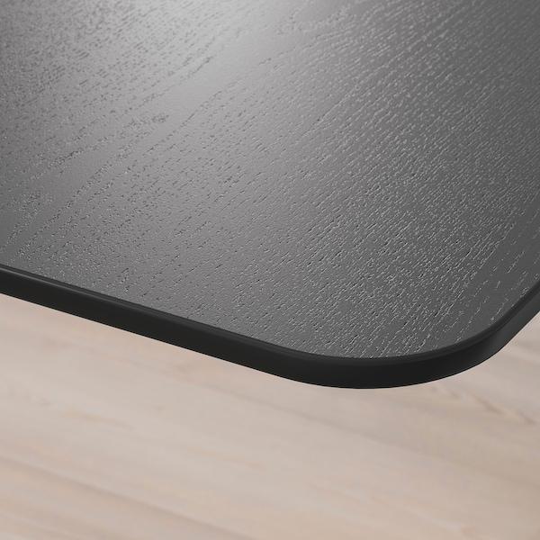 BEKANT Biurko z regulacją wysokości, okl jesionowa bejcowana na czarno/biały, 120x80 cm
