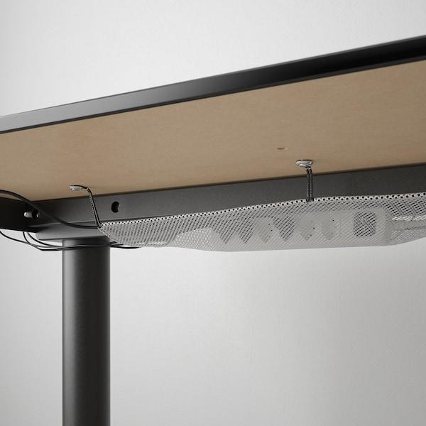 BEKANT Biurko z regulacją wysokości, okl jesionowa bejcowana na czarno/czarny, 120x80 cm