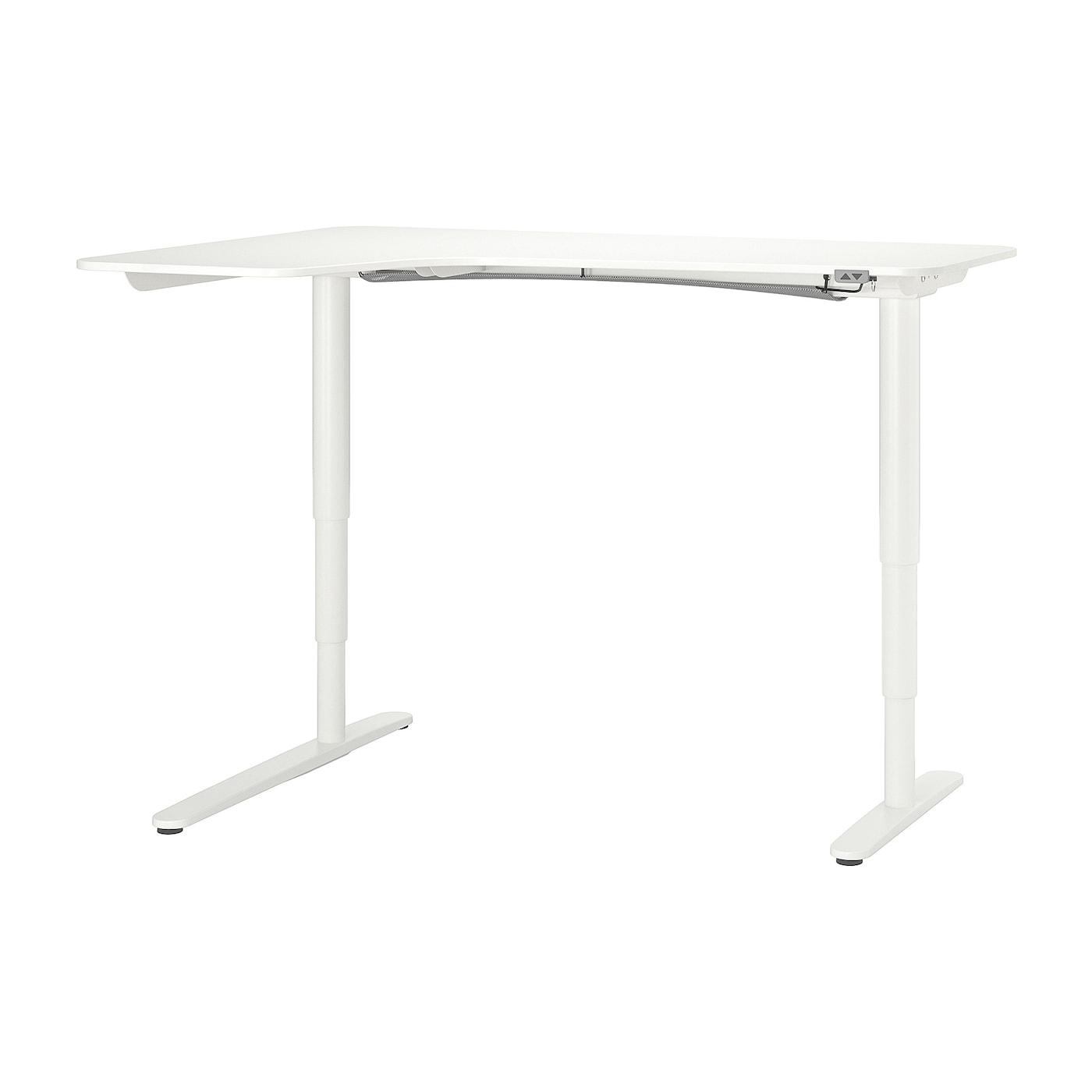 IKEA BEKANT białe biurko narożne lewe, sit/stand, 160x110 cm