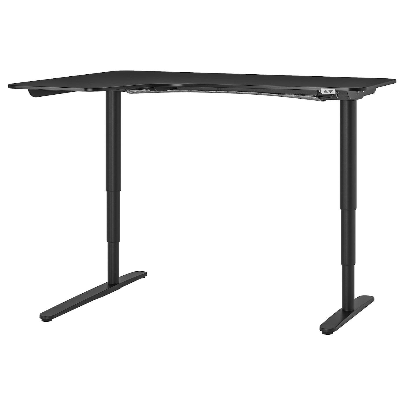 IKEA BEKANT Biurko narożne lew/siedz/stoj, okl jesionowa bejcowana na czarno, czarny, 160x110 cm