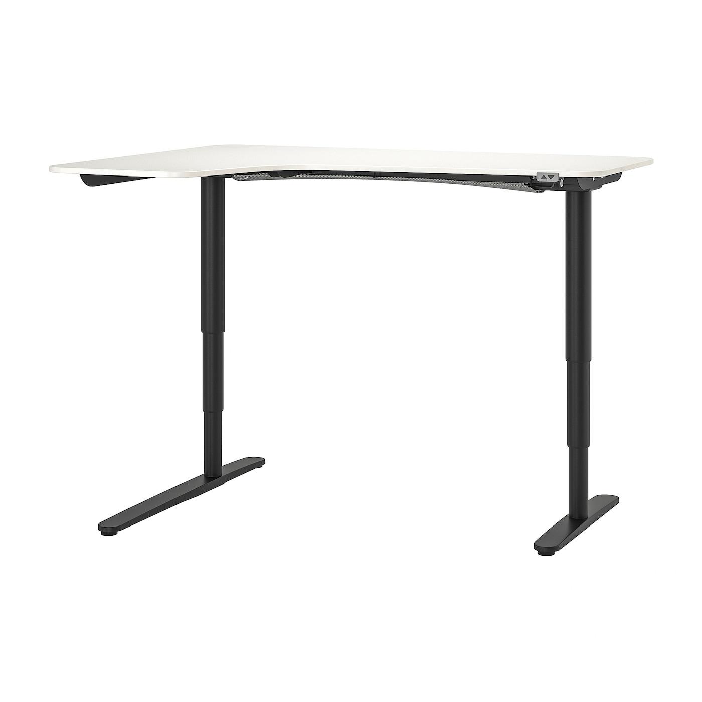 IKEA BEKANT biurko narożne lewe z białym blatem i czarnymi nogami, sit/stand, 160x110 cm