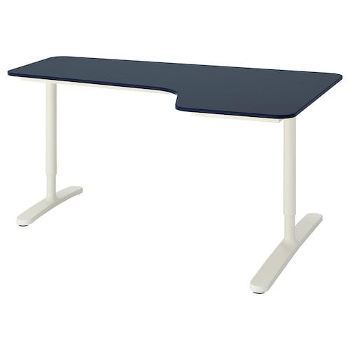 BEKANT biurko narożne, prawe linoleum niebieski/biały 160 cm 110 cm 65 cm 85 cm 100 kg