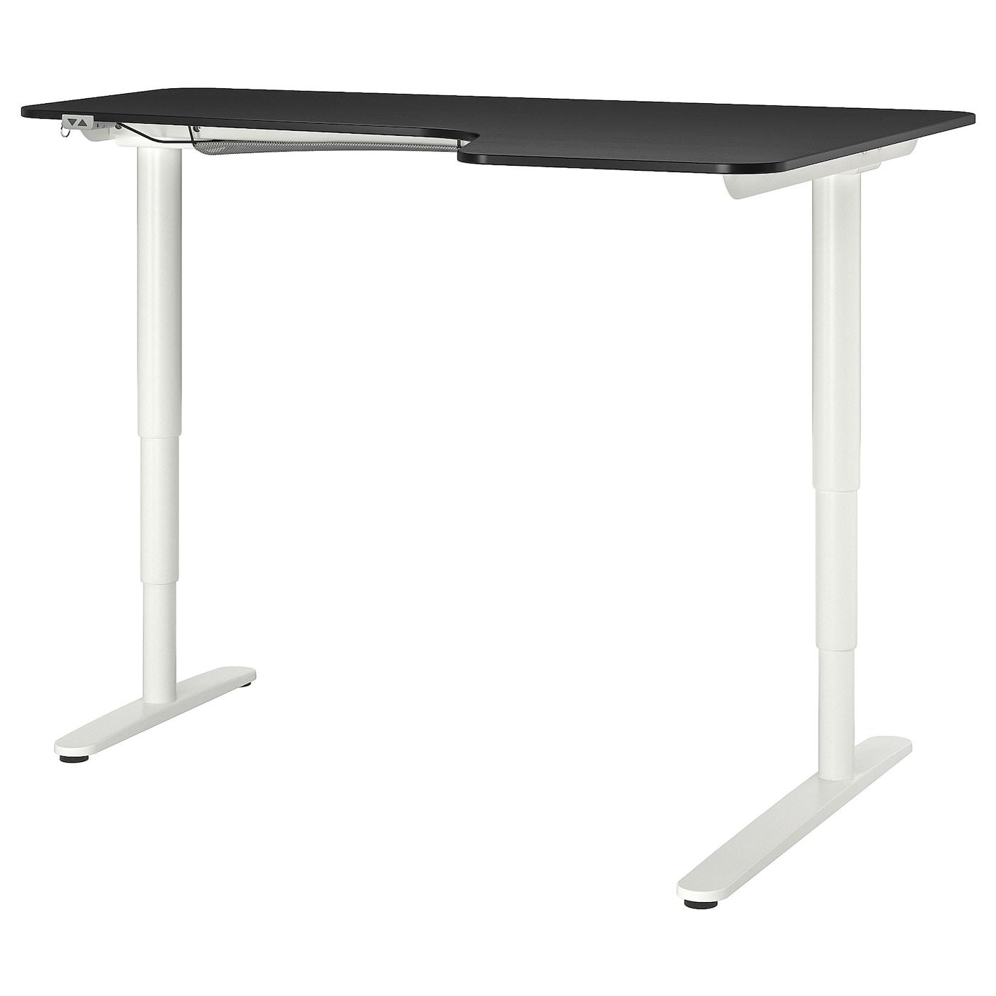 IKEA BEKANT Biurko narożne praw/siedz/stoj, okl jesionowa bejcowana na czarno biały, 160x110 cm