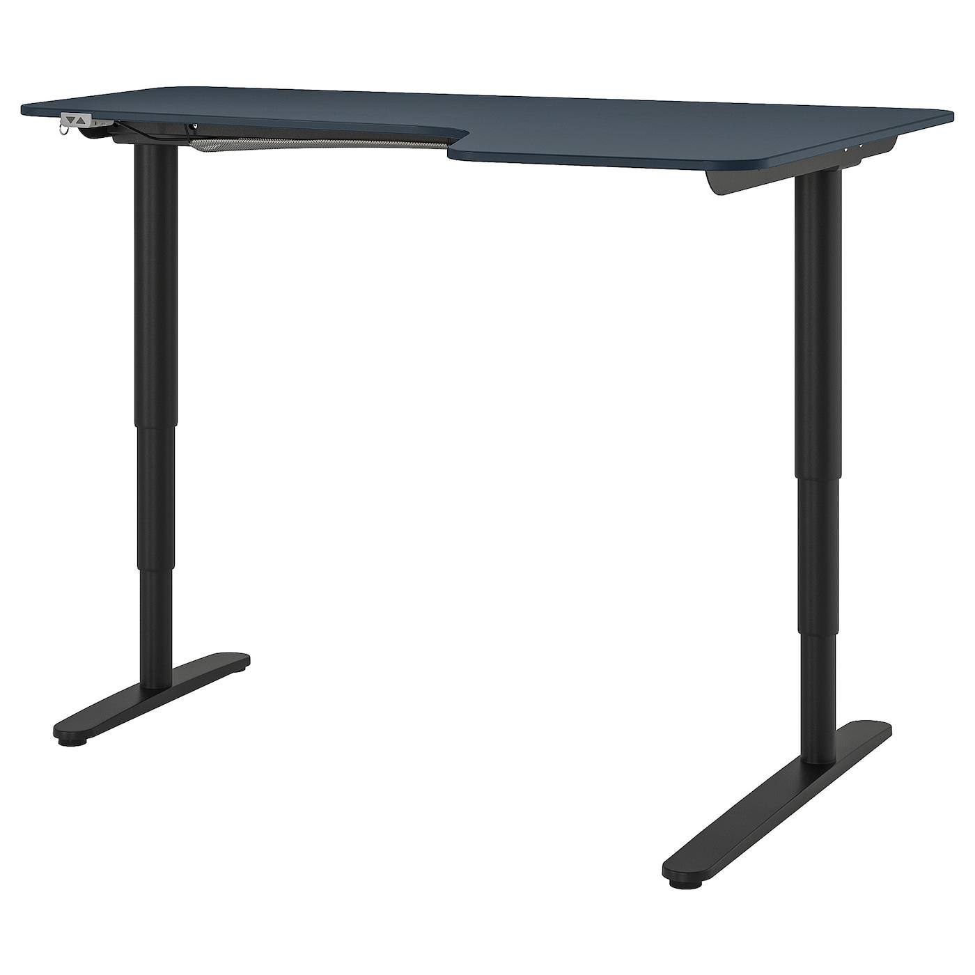 IKEA BEKANT Biurko narożne praw/siedz/stoj, linoleum niebieski, czarny, 160x110 cm