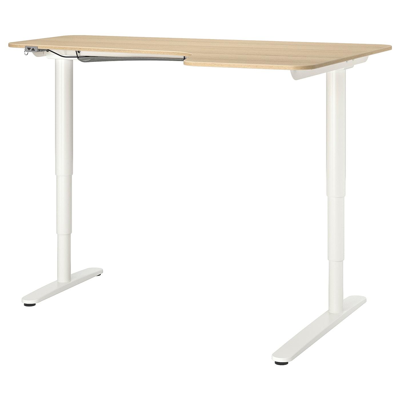 IKEA BEKANT Biurko narożne praw/siedz/stoj, okleina dębowa bejcowana na biało biały, 160x110 cm