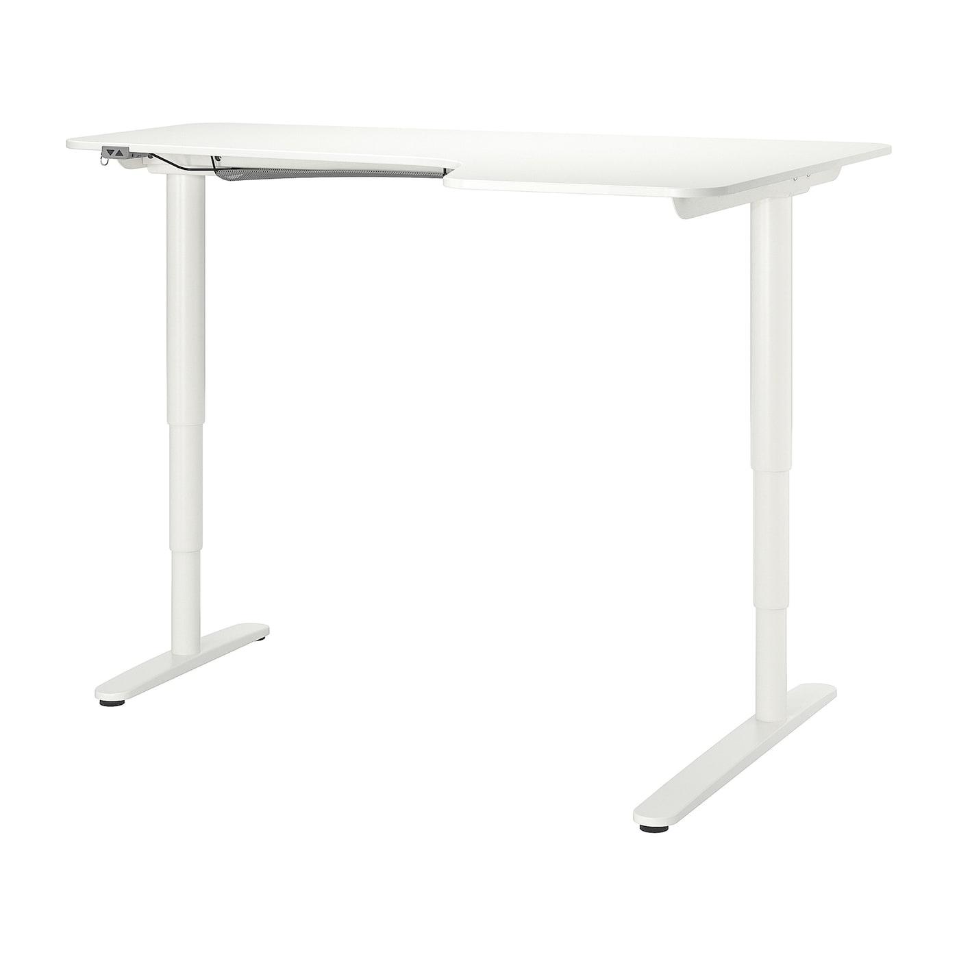 IKEA BEKANT białe biurko narożne prawe, sit/stand, 160x110 cm