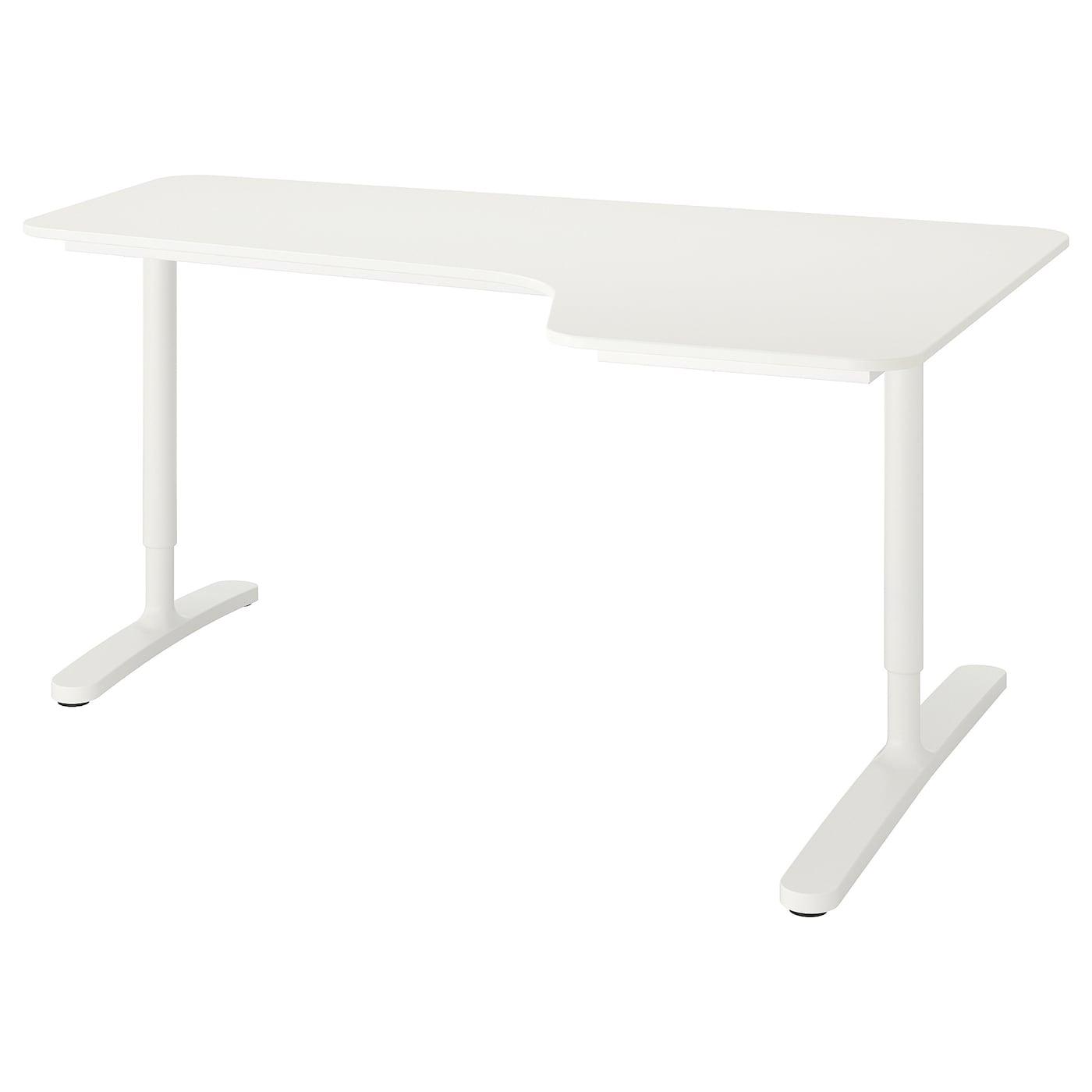 IKEA BEKANT białe biurko narożne prawe, 160x110 cm