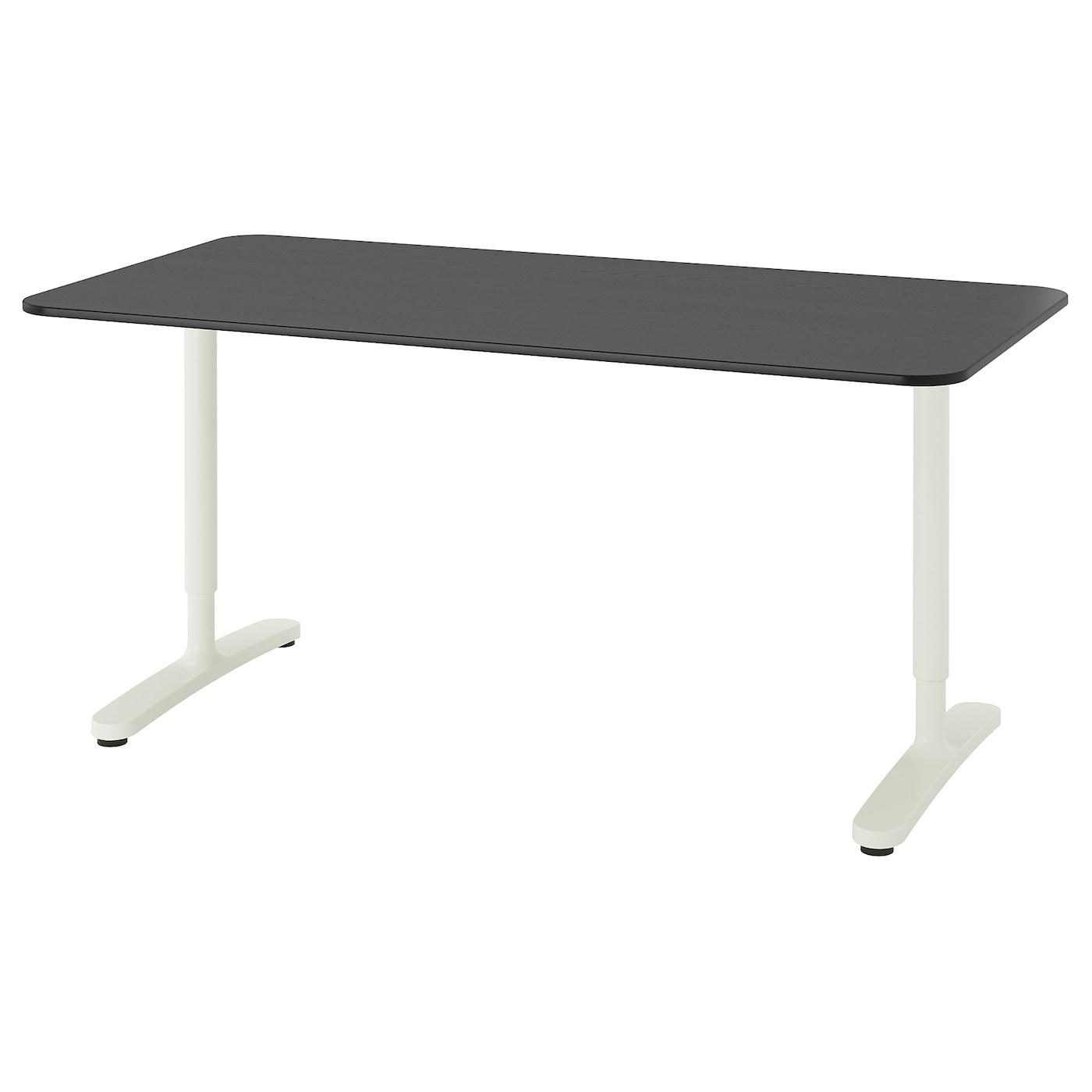 IKEA BEKANT Biurko, okl jesionowa bejcowana na czarno, biały, 160x80 cm