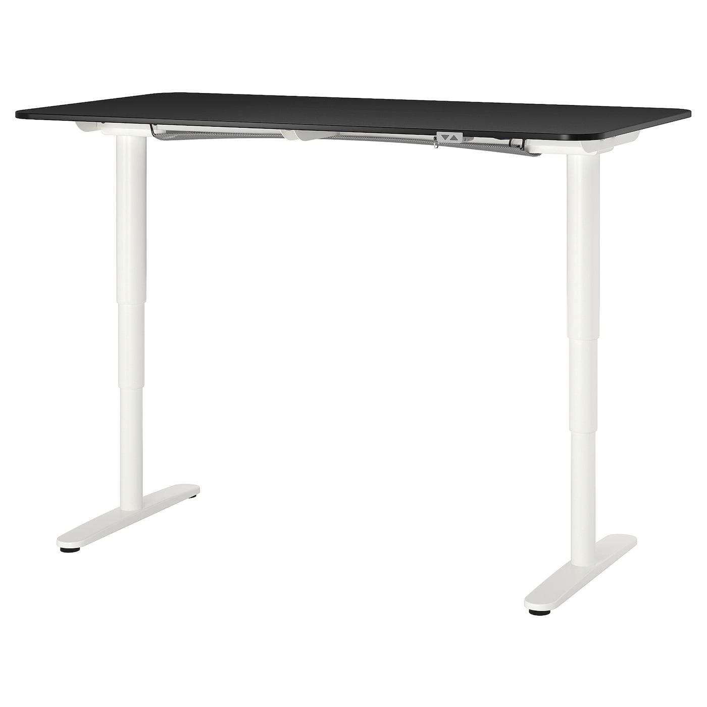 IKEA BEKANT Biurko z regulacją wysokości, okl jesionowa bejcowana na czarno, biały, 160x80 cm