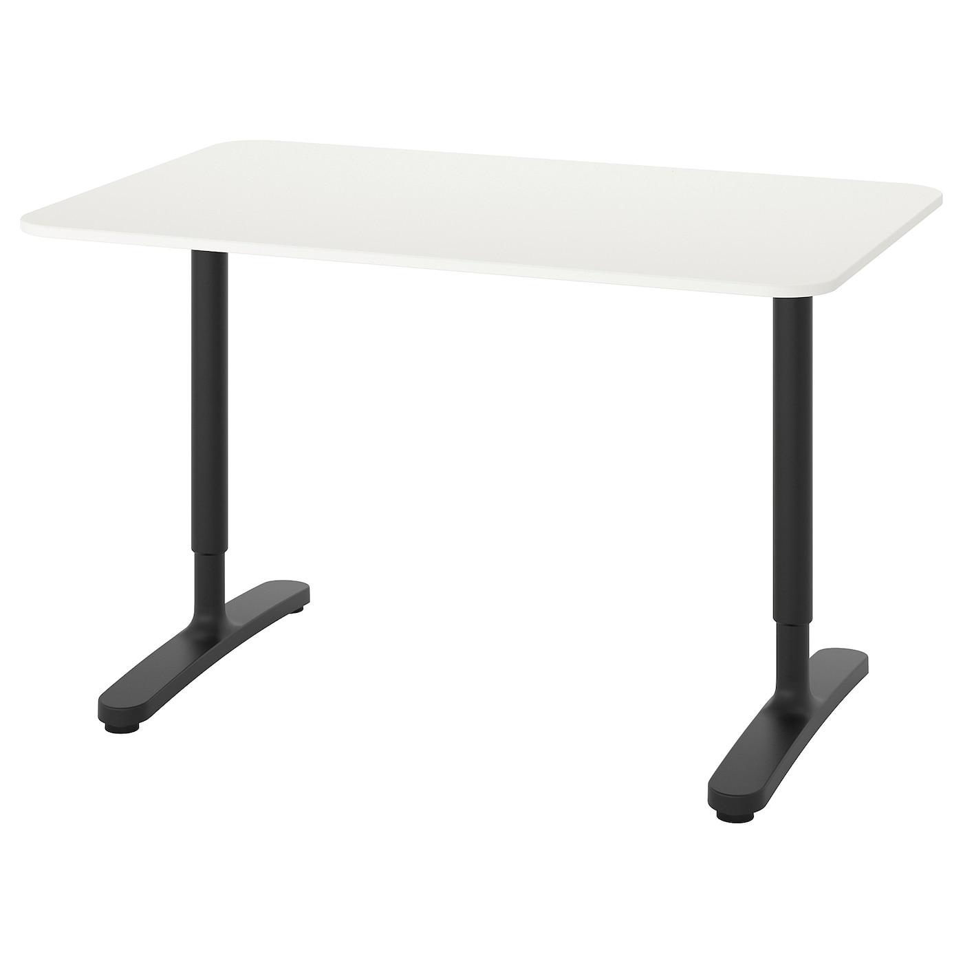 IKEA BEKANT biurko z białym blatem i czarnymi nogami, 120x80 cm