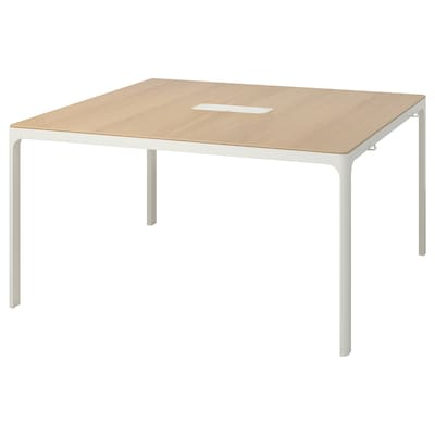 BEKANT Stół konferencyjny, okleina dębowa bejcowana na biało/biały, 140x140 cm