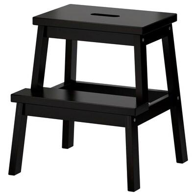 BEKVÄM Taboret ze schodkiem, czarny, 50 cm