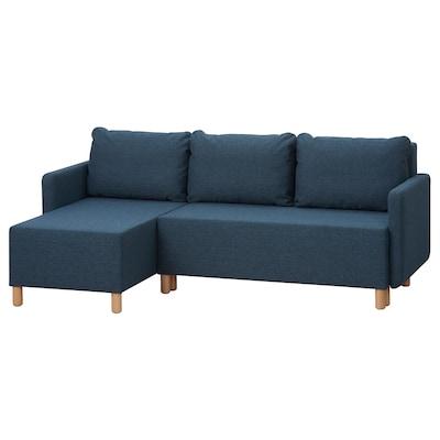 BENNEBOL Rozkładana sofa 3-osobowa, z szezlongiem granatowy