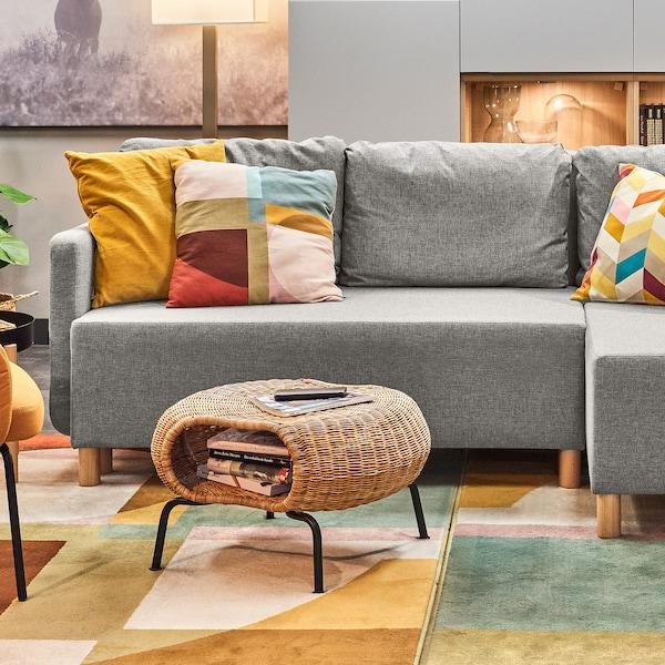 BENNEBOL Rozkładana sofa 3-osobowa, z szezlongiem szary