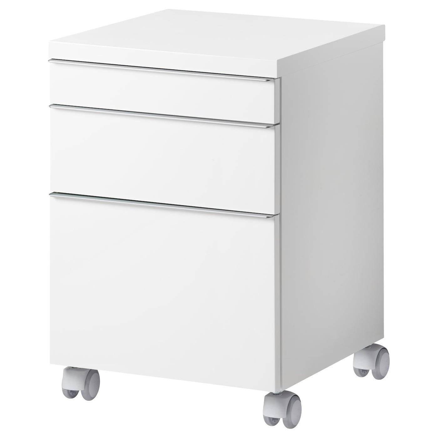IKEA BESTÅ BURS biała komoda na kółkach o wysokim połysku, 40x40 cm