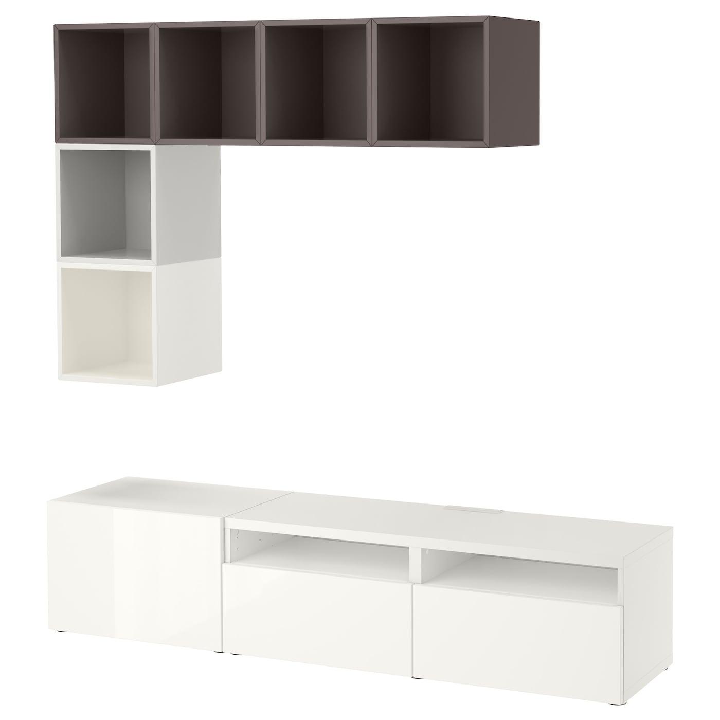 IKEA BESTÅ kombinacja samodomykających się: białej szafki pod TV o wysokim połysku z szarymi szafkami EKET, 180x40x170 cm