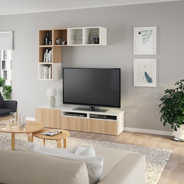 BESTÅ / EKET Kombinacja szafek pod TV, biały/dąb bejcowany na biało, 180x42x170 cm