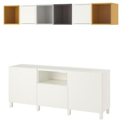 BESTÅ / EKET Kombinacja szafek pod TV, biały jasnoszary/ciemnoszary/złoto-brązowy, 210x40x220 cm