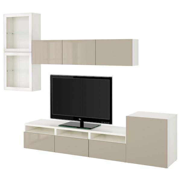 BESTÅ Kombinacja na TV/szklane drzwi, biały/Selsviken wysoki połysk/ beż szkło bezbarwne, 300x42x211 cm