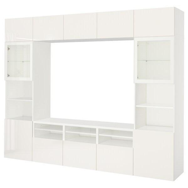 BESTÅ Kombinacja na TV/szklane drzwi, biały/Selsviken wysoki połysk biały szkło bezbarwne, 300x40x230 cm