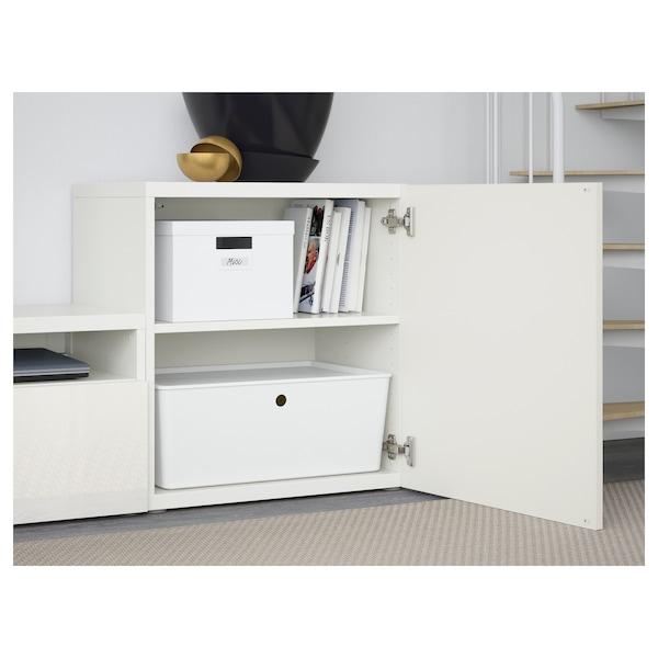 BESTÅ Kombinacja na TV/szklane drzwi, biały/Selsviken wysoki połysk biały szkło matowe, 300x42x211 cm