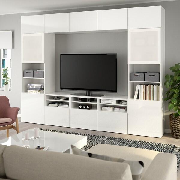 BESTÅ Kombinacja na TV/szklane drzwi, biały/Selsviken wysoki połysk biały szkło matowe, 300x40x230 cm