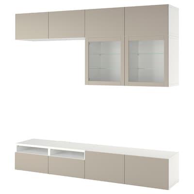 BESTÅ Kombinacja na TV/szklane drzwi, biały Sindvik/Lappviken jasnoszary/beżowy, 240x42x231 cm