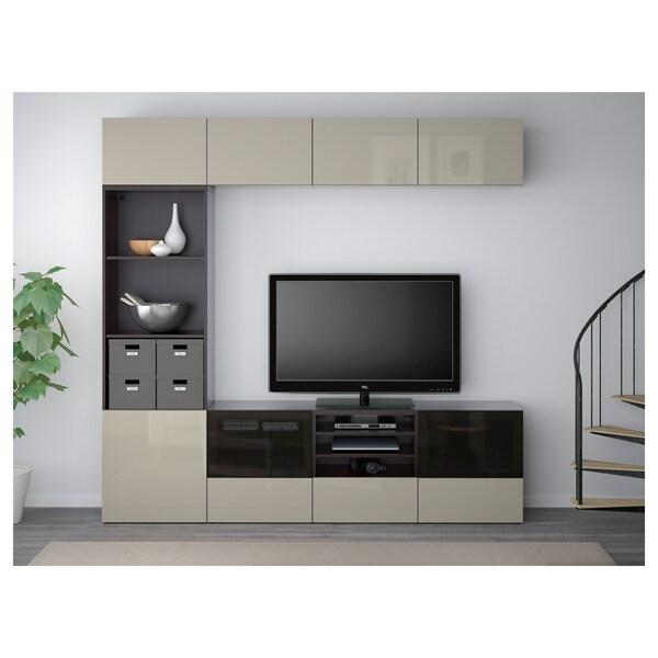 BESTÅ Kombinacja na TV/szklane drzwi, czarnybrąz/Selsviken wysoki połysk/beż przydymione szkło, 240x40x230 cm