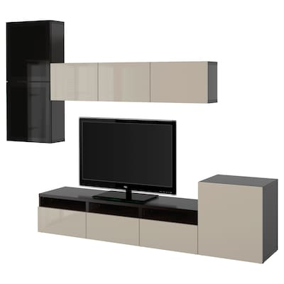 BESTÅ Kombinacja na TV/szklane drzwi, czarnybrąz/Selsviken wysoki połysk/beż przydymione szkło, 300x42x211 cm