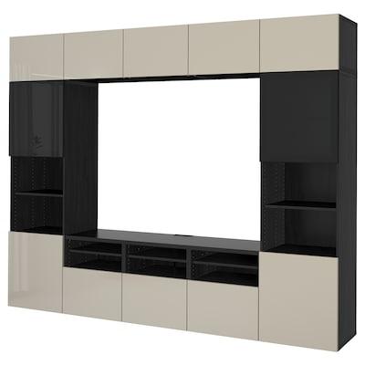 BESTÅ Kombinacja na TV/szklane drzwi, czarnybrąz/Selsviken wysoki połysk/beż przydymione szkło, 300x42x231 cm