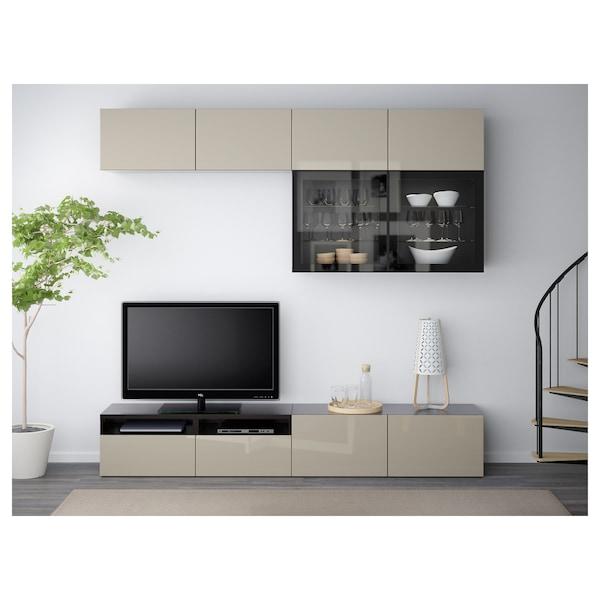 BESTÅ Kombinacja na TV/szklane drzwi, czarnybrąz/Selsviken wysoki połysk/ beż szkło bezbarwne, 240x40x230 cm