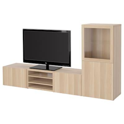 BESTÅ Kombinacja na TV/szklane drzwi, dąb bejcowany na biało/Lappviken dąb bejcowany biało szk bezbarwne, 240x42x129 cm