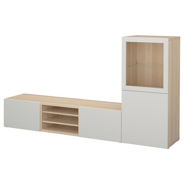 BESTÅ Kombinacja na TV/szklane drzwi, dąb bejcowany na biało/Lappviken jasnoszare szkło przezroczyste, 240x42x129 cm