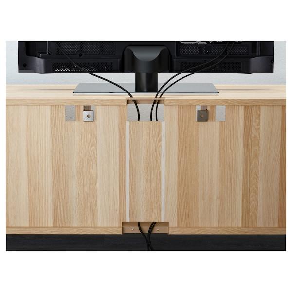 BESTÅ Kombinacja na TV/szklane drzwi, dąb bejcowany na biało/Selsviken wysoki połysk/ beż szkło matowe, 300x40x230 cm