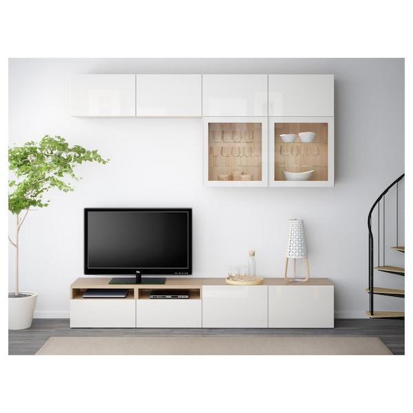 BESTÅ Kombinacja na TV/szklane drzwi, dąb bejcowany na biało/Selsviken wysoki połysk biały szkło bezbarwne, 240x40x230 cm