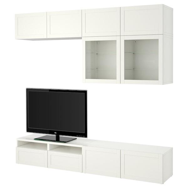 BESTÅ Kombinacja na TV/szklane drzwi, Hanviken/Sindvik białe szkło przezroczyste, 240x40x230 cm