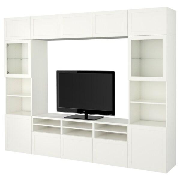 BESTÅ Kombinacja na TV/szklane drzwi, Hanviken/Sindvik białe szkło przezroczyste, 300x40x230 cm