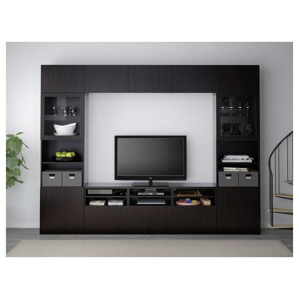 BESTÅ Kombinacja na TV/szklane drzwi, Lappviken/Sindvik czarnobrązowe szkło przezroczyste, 300x40x230 cm