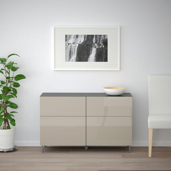 BESTÅ Kombinacja regałowa z drzw/szuf, czarnybrąz/Selsviken/Stallarp wysoki połysk beż, 120x40x74 cm