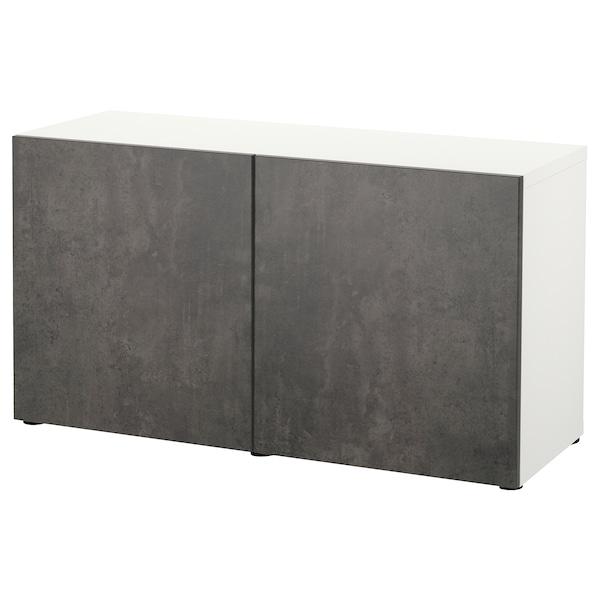 BESTÅ Kombinacja z drzwiami, biały Kallviken/ciemnoszary imitacja betonu, 120x42x65 cm