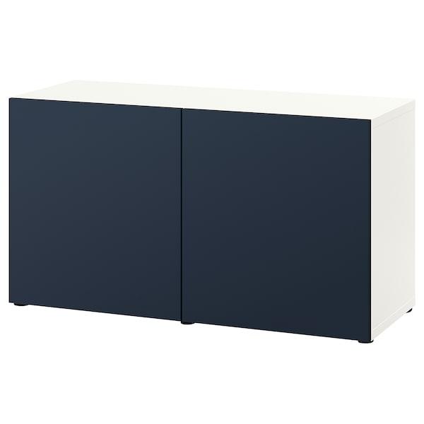 BESTÅ Kombinacja z drzwiami, biały/Notviken niebieski, 120x42x65 cm