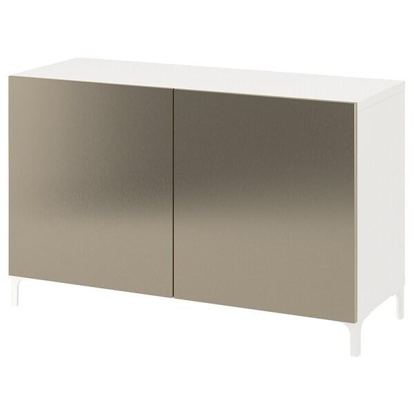 BESTÅ Kombinacja z drzwiami, biały/Riksviken/Nannarp imitacja jasny brąz, 120x42x74 cm