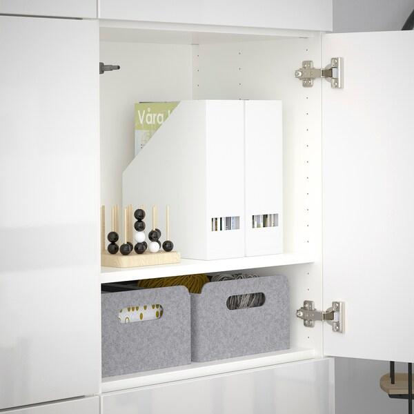 BESTÅ Kombinacja z drzwiami, biały/Selsviken połysk/biel, 120x40x192 cm